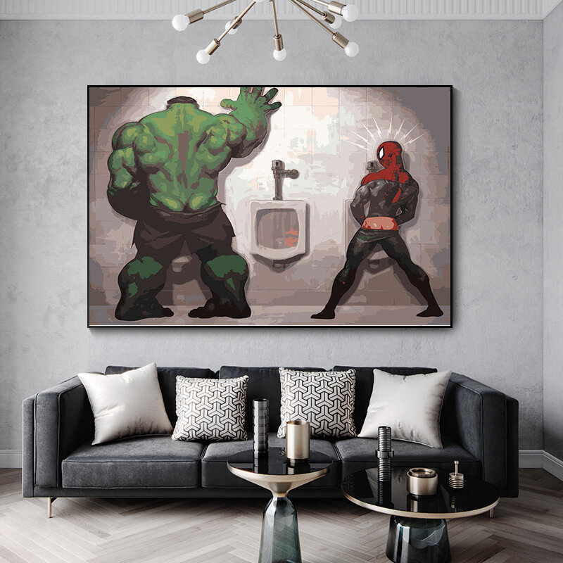 مارفل ذا أفنجرز رسم هالك ثور يدوي زيت حائط لوح رسم ملصقات فنية ومطبوعات صور فنية للجدران لغرفة المعيشة