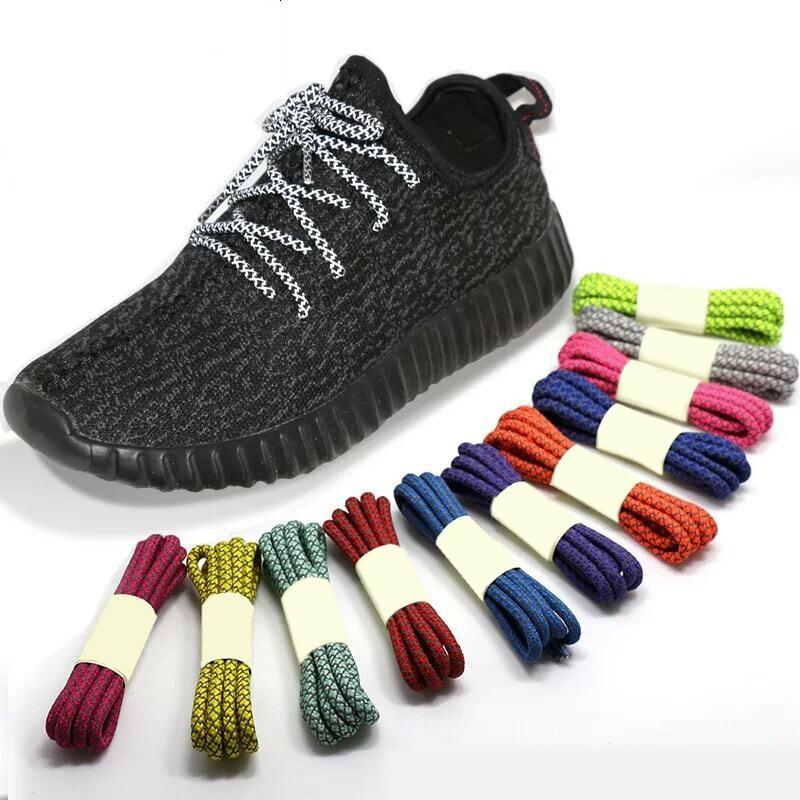 1 زوج الفلورسنت رياضة Shoestrings الرياضة أربطة الحذاء 3M عاكس حبل مستدير أحذية الدانتيل ضوء أربطة الحذاء
