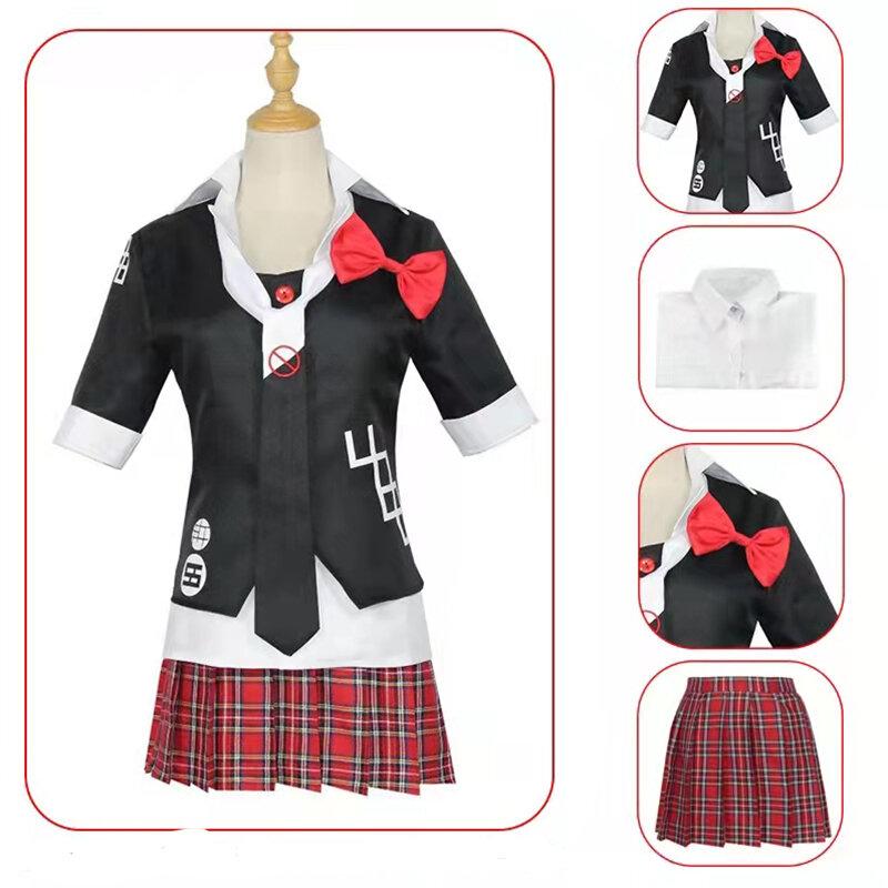 أنيمي دانغانرونا اينوشيما جونكو تأثيري حلي الباروكة موحدة الملابس تنورة مجموعة كاملة فستان هالوين حتى