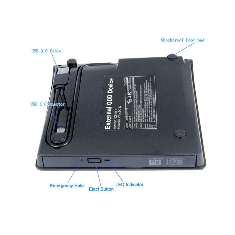 محرك أقراص ضوئي خارجي usb 3.0 ، اتصال كبير من النوع C ، مشغل أقراص DVD محمول ، واجهة مزدوجة ، كمبيوتر محمول