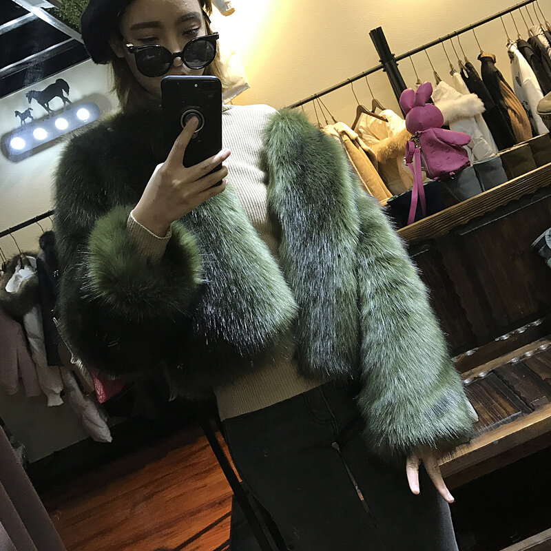 معطف قصير من فرو الثعلب الصناعي للسيدات Ropa Mujer Invierno 2021 ملابس أنيقة ضيقة بياقة دائرية وأكمام طويلة