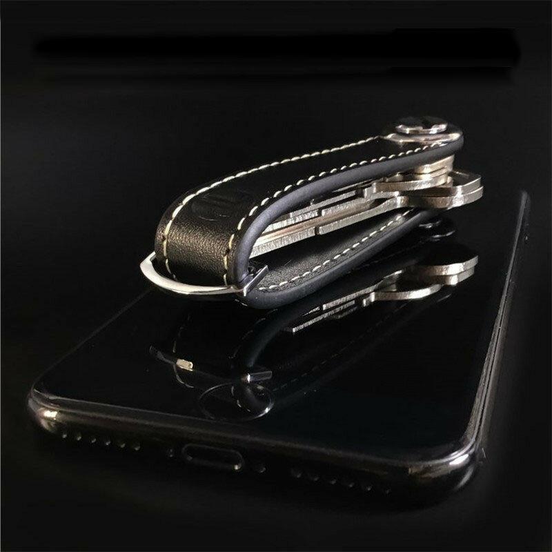 سيارة مفتاح كيس مزموم محفظة حامل سلسلة مفتاح المحفظة حلقة جامع مدبرة المنزل جيب مفتاح منظم الذكية الجلود المفاتيح