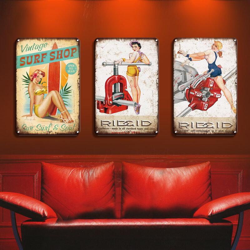 دبوس متابعة أجنحة ملصق تين تسجيل Pinup فتاة غرفة بار ديكور Vintage معدن القصدير تسجيل سيارة شاطئ الجمال فتاة الفن الجدار ملصق ديكور لوحة
