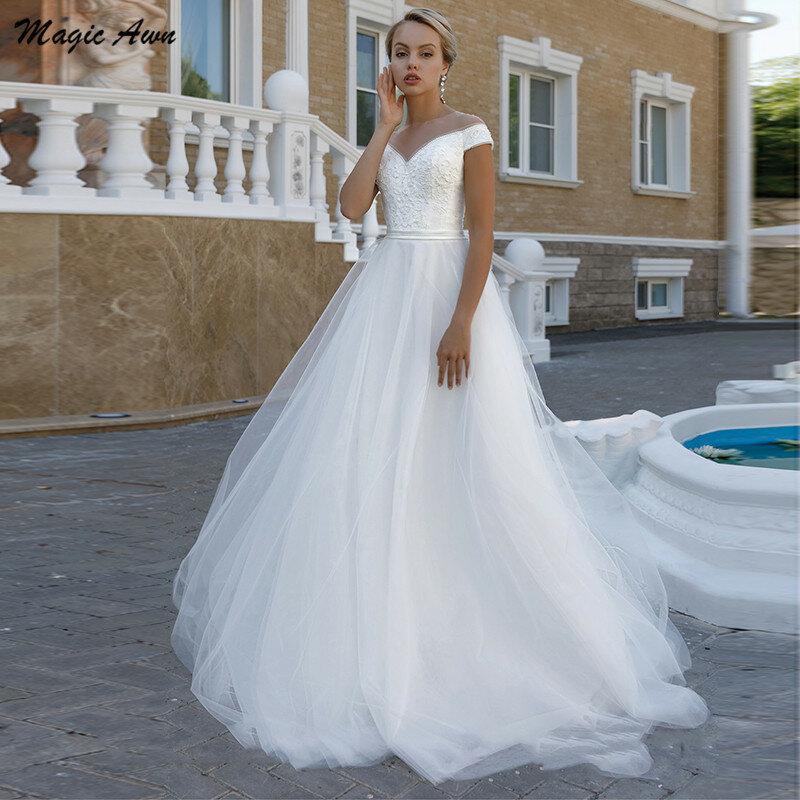 Magic Awn-فستان زفاف أبيض أنيق ، بأكمام قصيرة ، نمط بوهو ، دانتيل في الخلف