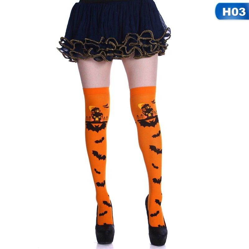 جوارب عالية الفخذ للنساء والفتيات ، كرنفال الهالوين ، قلعة مخيفة ، خفاش ، لباس فاخر ، برتقالي وأبيض