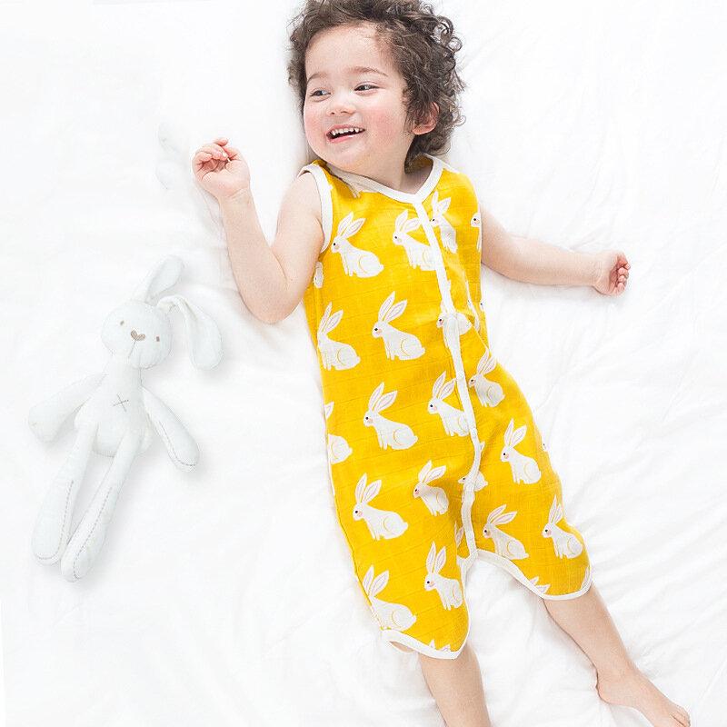 بيجاما صيفية من الشاش القطني للأطفال ، ملابس نوم مطبوعة برسومات كرتونية ، بدون أكمام ، حقيبة نوم رائعة للأطفال الصغار ، قابلة للتنفس