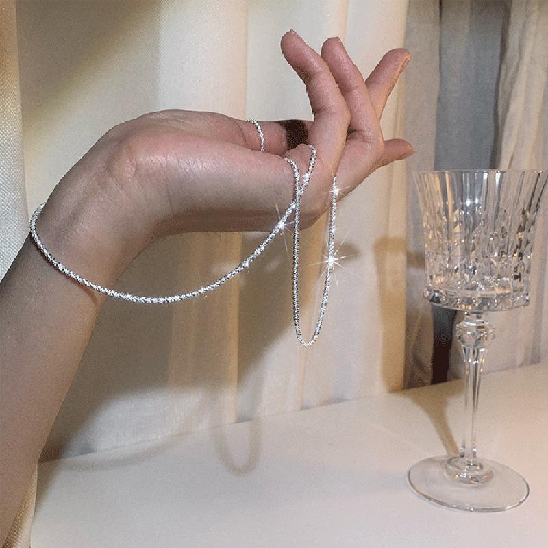 925 فضة تألق سلسلة قصيرة تصل إلى عظمة الترقوة لامعة المختنق قلادة رائعة للنساء غرامة مجوهرات الزفاف هدية بالجملة NK106
