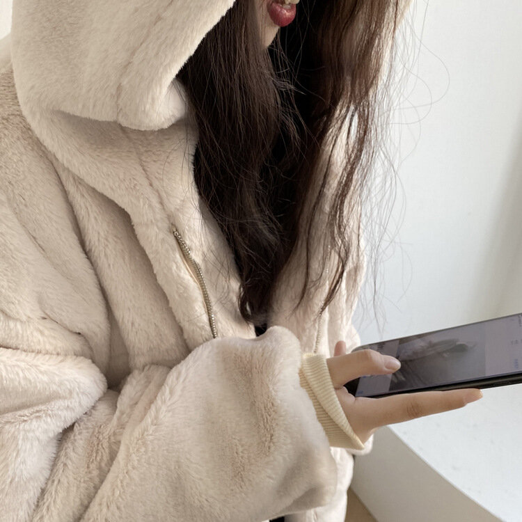 2020 شتاء جديد فضفاض سميكة تقليد الأرنب الفراء منتصف طول معطف مقنع المرأة