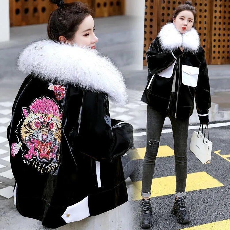 كبير الفراء طوق فطيرة قصيرة للنساء للتغلب على 2021 ملابس الشتاء الإناث جديد الكورية الصينية التطريز زائد المخملية القطن Jacket575