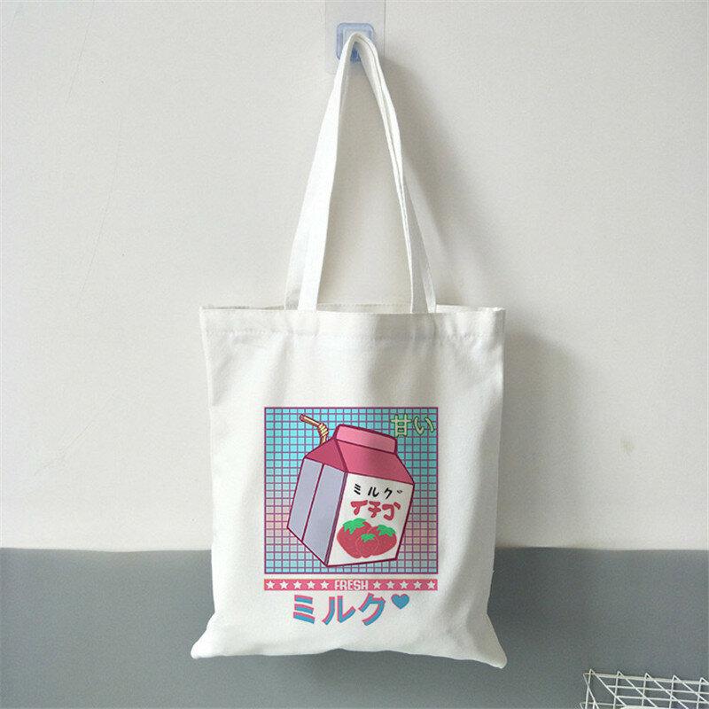 المتسوق حقيبة يد للنساء سعة كبيرة حقيبة تسوق النمط الياباني حمل حقيبة ايكو السيدات قماش حقيبة كتف السيدات كيس التسوق
