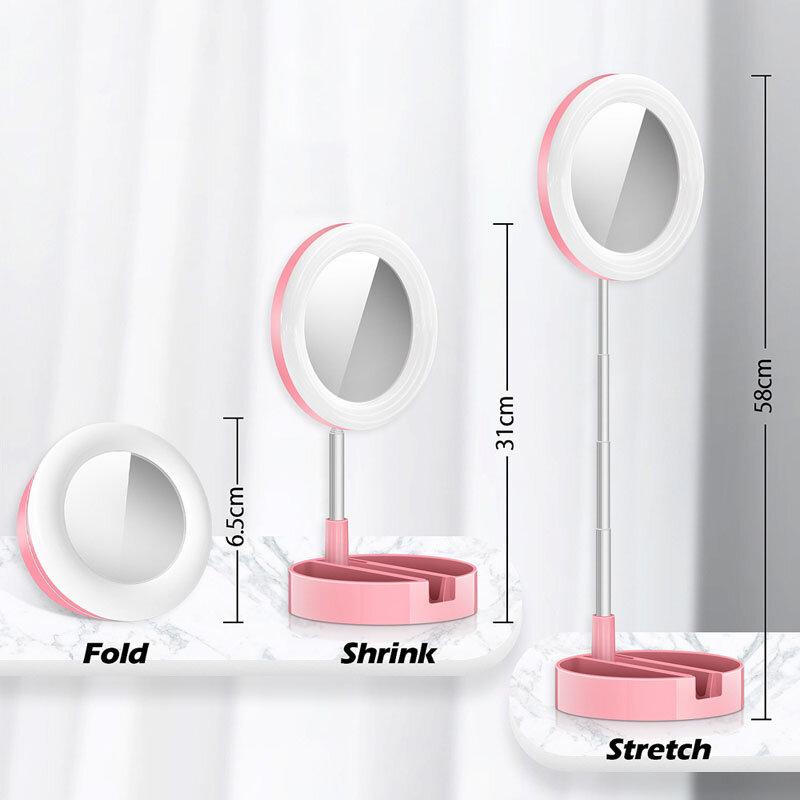 G3 قابل للسحب حلقة مصباح مع مرآة 6 بوصة حامل هاتف المحمول LED لايف التصوير ملء ضوء تشكل الجدول الغرور الجمال