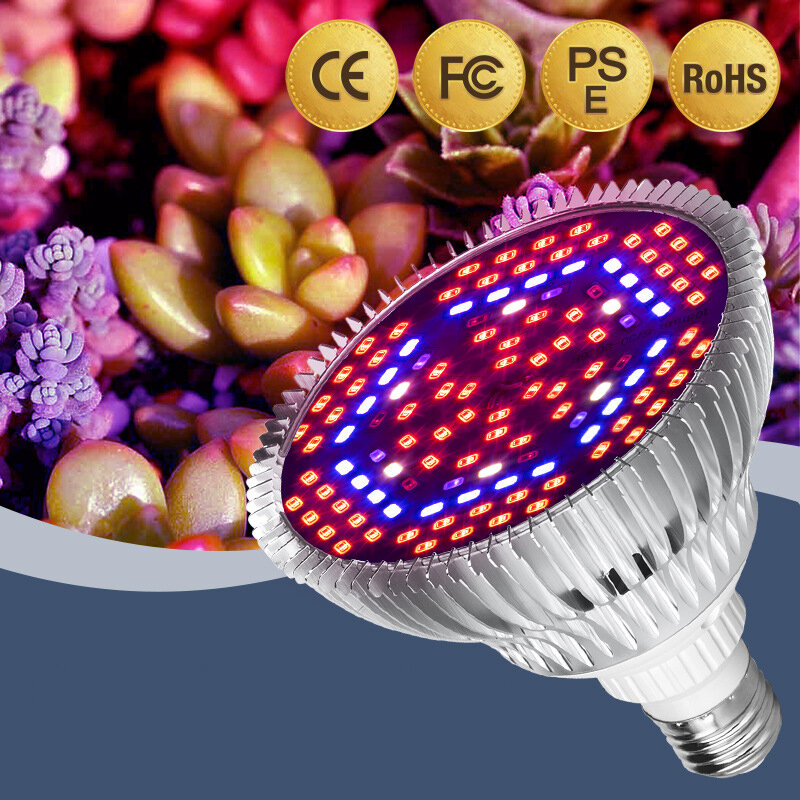 LED تنمو ضوء الطيف الكامل E27 LED تزايد لمبة للداخلية 30 واط 50 واط 80 واط الألومنيوم الزراعة المائية الزهور النباتات LED مصباح النمو