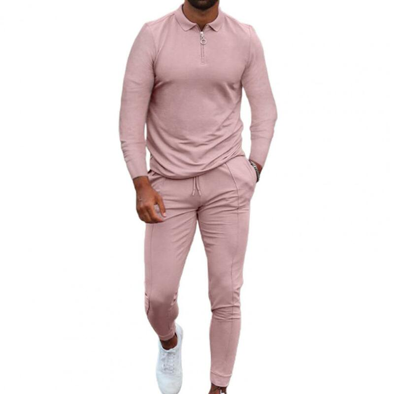 مجموعة ملابس رياضية رجالية 2021 بلون ملابس رياضية رجالية مجموعة مرونة الخصر الجلد ودية جيوب طويلة الأكمام بدلة رياضية للياقة البدنية