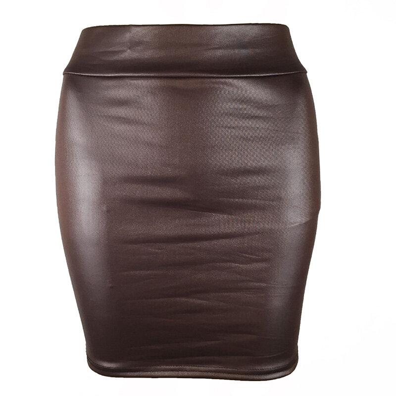 المرأة بولي Leather الجلود تنورة قصيرة بلون عالية الخصر سليم الورك تنورات الرصاص خمر Bodycon تنورة مثير كلوبوير