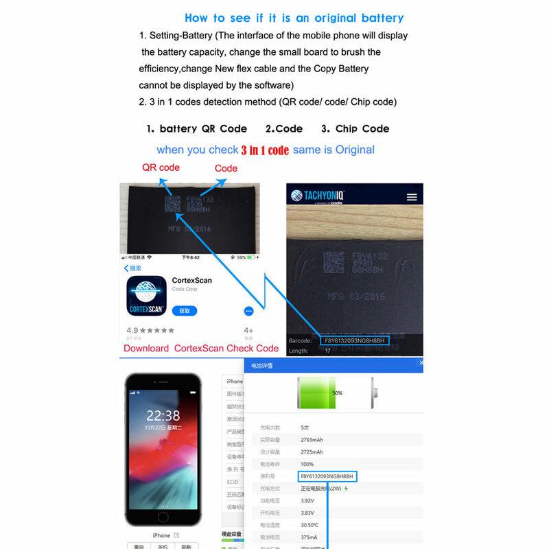بطارية أصلية لهاتف iPhone 6S 6 7 8 Plus iPhone X SE2 11 XR XS Max قطع غيار لـ Apple 12mini 12 pro max
