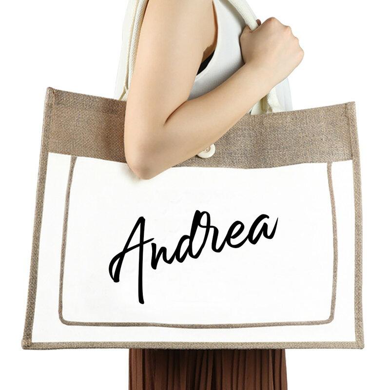 شخصية الجوت القطن حقائب النساء حجم كبير مخصص المحمولة حقيبة تسوق حقائب من نسيج قنبي خشن الزفاف هدايا للضيوف