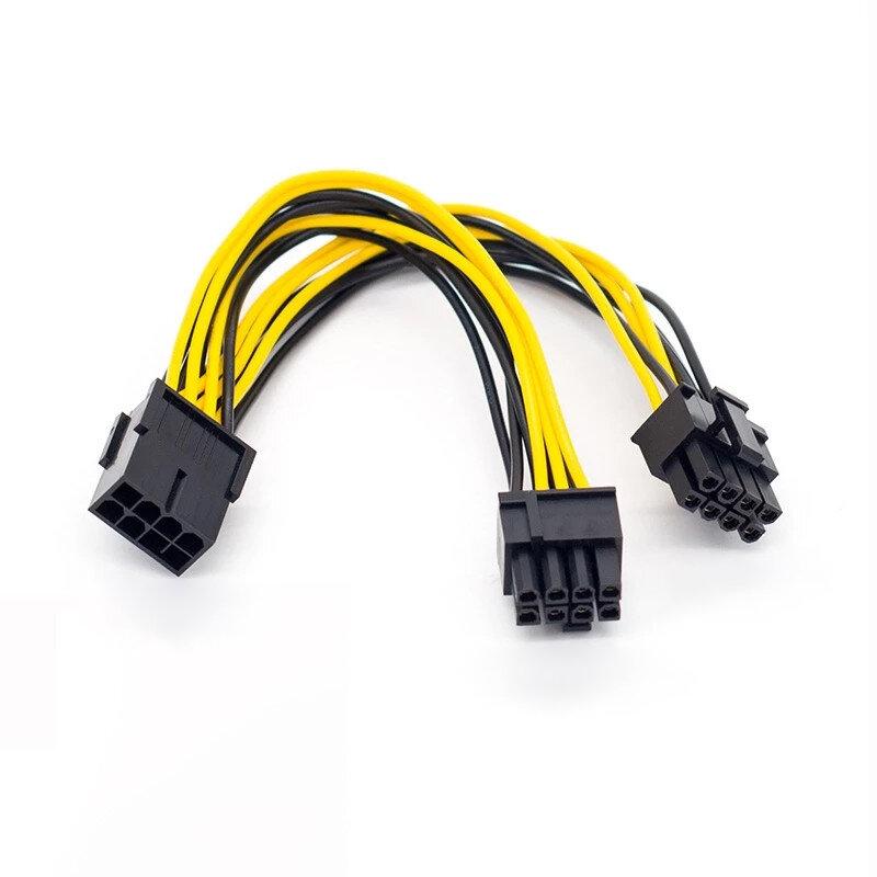 PCI-Express PCIE 8 دبوس إلى المزدوج 8 (6 + 2) دبوس VGA الرسم بطاقة الفيديو محول الطاقة كابل إمداد الطاقة 20 سنتيمتر كابلات الكمبيوتر والموصلات