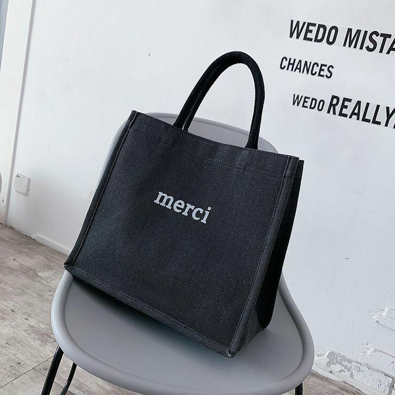 سعة كبيرة حقيبة حقائب كتف حمل الحقائب موضة القطن الكتان حقيبة يد بسيطة عادية إلكتروني الطباعة الإناث التسوق