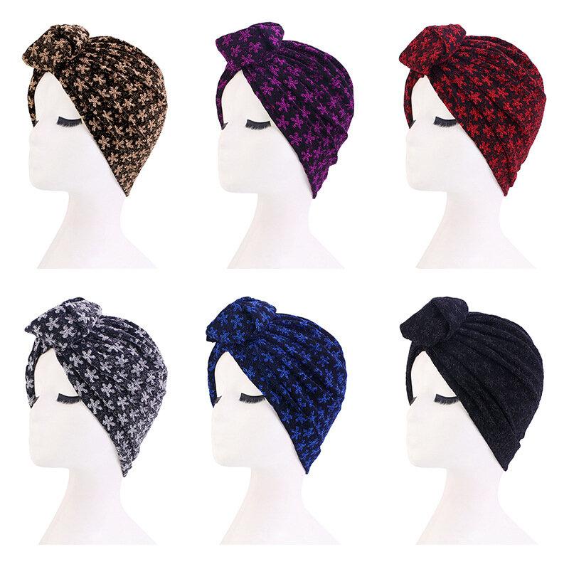 السيدات عمامة بونيه لامعة الحرير قبعة كروية تويست الأفريقية حك أشرطة رأس المرأة الهند قبعة الحجاب قبعة العربية قبعة عمامة