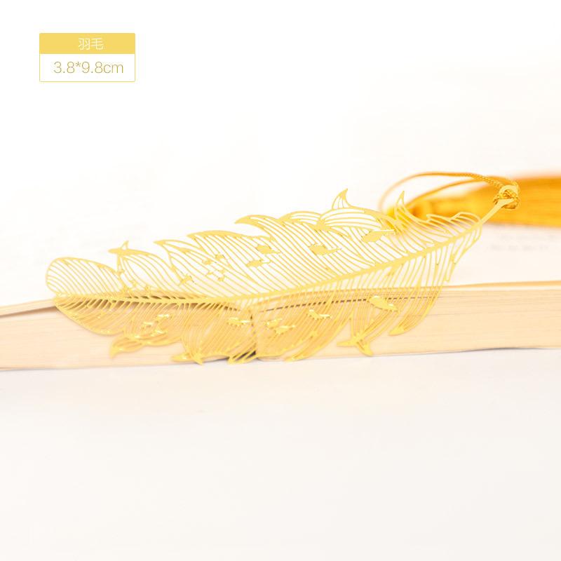 النمط الصيني ريشة يترك المرجعية النحاس جوفاء الإشارات المرجعية مشبك كتب معدنية معبد الهدايا الرائعة القرطاسية ديكور ذاتي الصنع