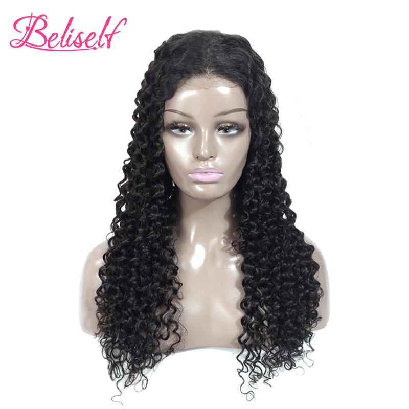 Beliself الدانتيل أمامي لمة موجة المياه الإنسان الشعر 13 × 4/13 × 6 موجة عميقة أمامي لمة البرازيلي مجعد 4 × 4 إغلاق شعر مستعار للنساء السود