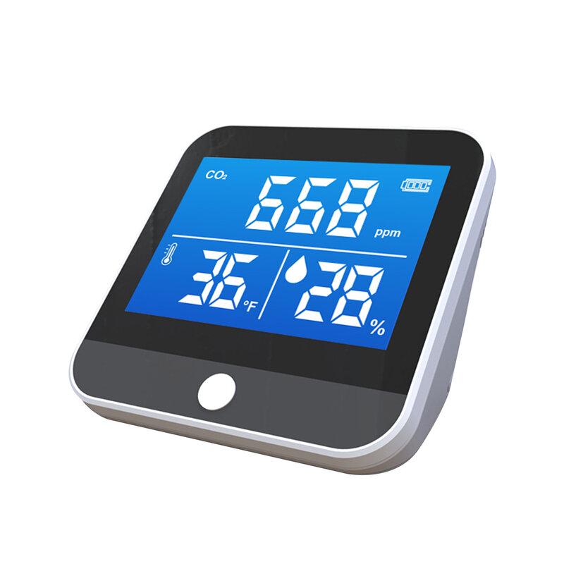 نوعية الهواء رصد داخلي المنزل CO2 متر كاشف ثاني أكسيد الكربون مستشعر درجة الحرارة والرطوبة في الوقت الحقيقي القراءة CO2 التنبيه