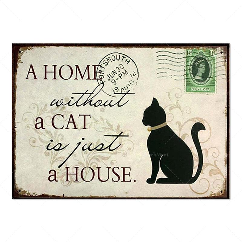 منزل بدون قطة هو مجرد منزل ، ملصق القط ، هدية عاشق القط ، بطاقة القط ، هدية القط ، هدية لمالك القط