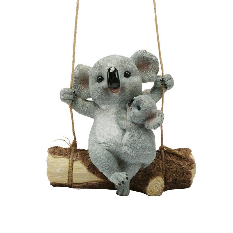 المنزل أشكال نماذج للحديقة من الراتنج كوالا يتأرجح كوالا حديقة تمثال في الهواء الطلق ساحة معلقة زخرفة الديكور تمثال الحيوان للهدايا طفل