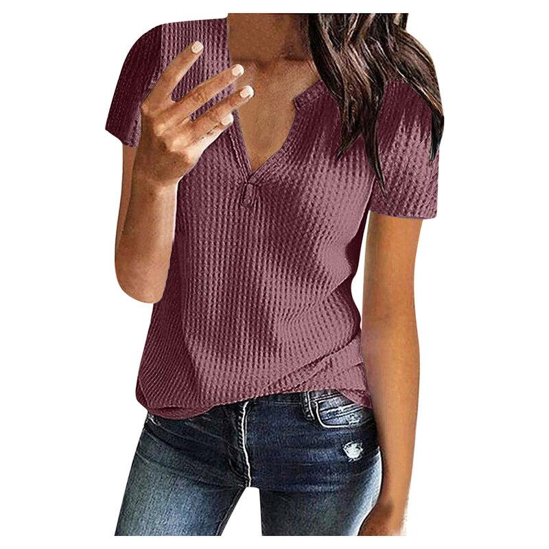 من المألوف نمط المرأة بلوزة الصلبة الصيف موضة محبوك قصيرة الأكمام سترة علوية الخامس الرقبة فضفاضة مكتب قميص للسيدات