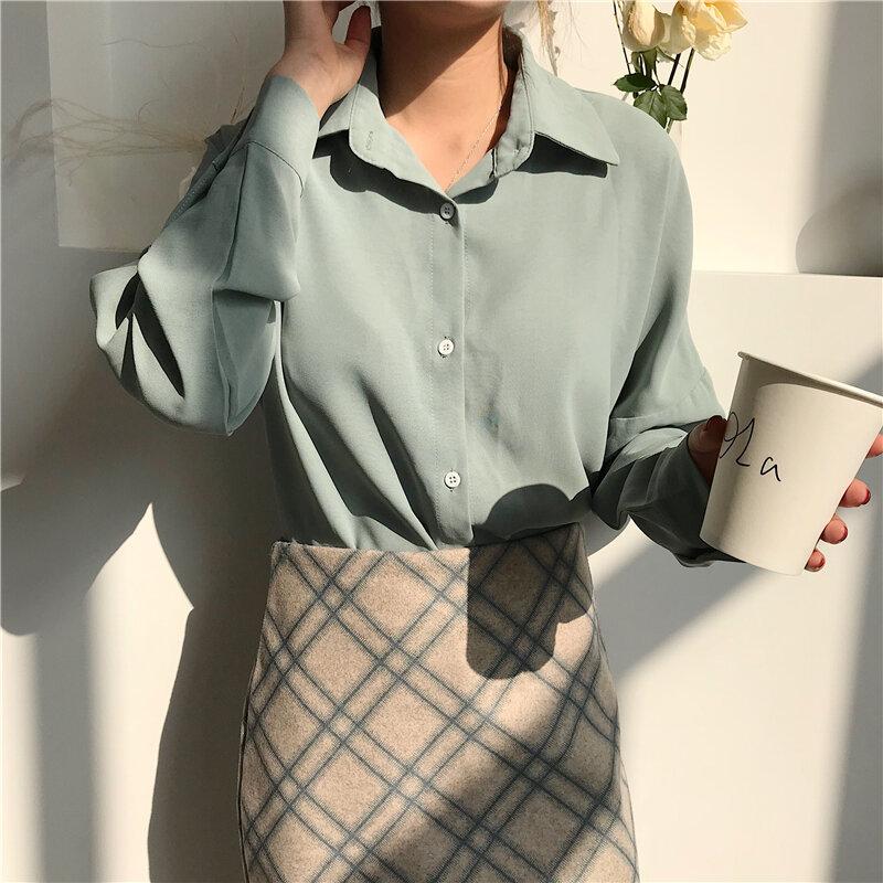 بلوزات نسائية جديدة لربيع وصيف 2020 ذات ياقة مقلوبة واحدة الصدر قمصان أنيقة غير رسمية بأكمام طويلة ملابس مكتب للسيدات