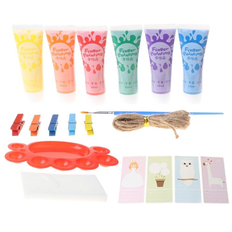 طقم طلاء أصابع للأطفال قابل للغسل ، 6 ألوان ، 30 مللي ، هدية للأطفال K3KB