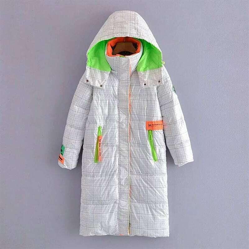 Nlzgmsj Za المرأة 2021 سترة طويلة سترة المرأة مقنعين سستة الشتاء سميكة الدافئة ملابس خارجية الإناث معطف أبيض أسود سترات 202108