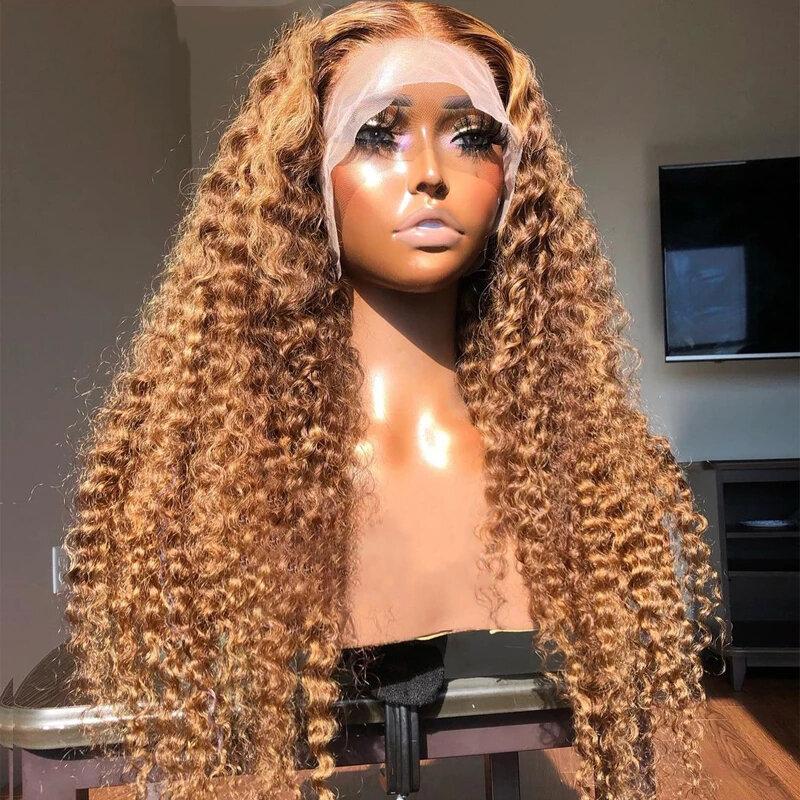 بني داكن ملون غريب مجعد 180 الكثافة الاصطناعية الشعر الدانتيل شعر مستعار أمامي للنساء ألياف مقاومة للحرارة قبل نتف الباروكات غلويليس
