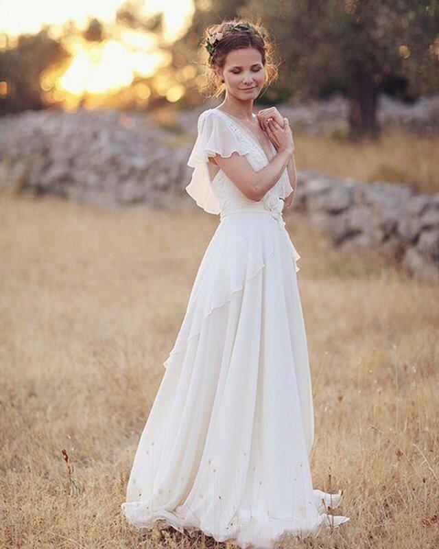 فساتين زفاف بوهيمية كبيرة الحجم للنساء ، فساتين زفاف بوهيمية للشاطئ ، 2020
