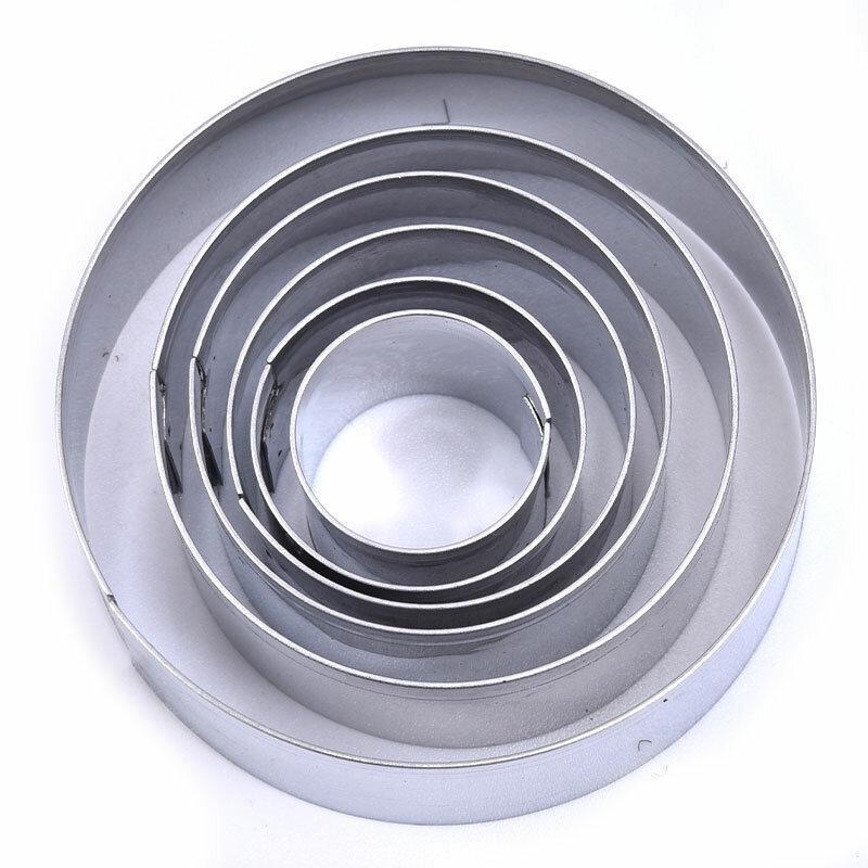 6 قطع مستديرة الفولاذ المقاوم للصدأ البسكويت قالب موس حلقة قالب الفولاذ المقاوم للصدأ سكينة تقطيع الكيك أواني الخبز
