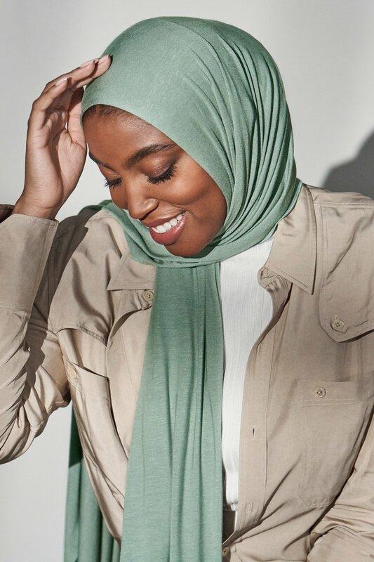 JTVOVO 2021 جديد المرأة المسلمة بلون جيرسي الحجاب تنفس ميرسيريزد القطن رئيس التفاف وشاح الحجاب العمامة الحجاب الإسلامي