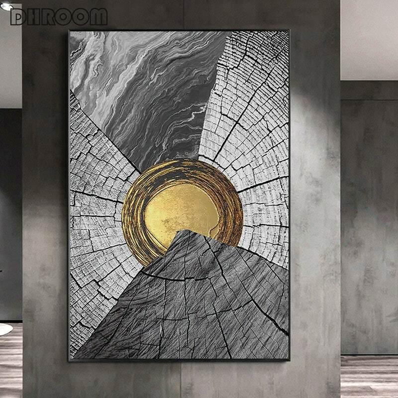 الشمال الديكور مجردة الأسود والأبيض الخشب الحبوب اللوحة Gloden جدار الفن المشارك طباعة الصور لغرفة المعيشة ديكور المنزل