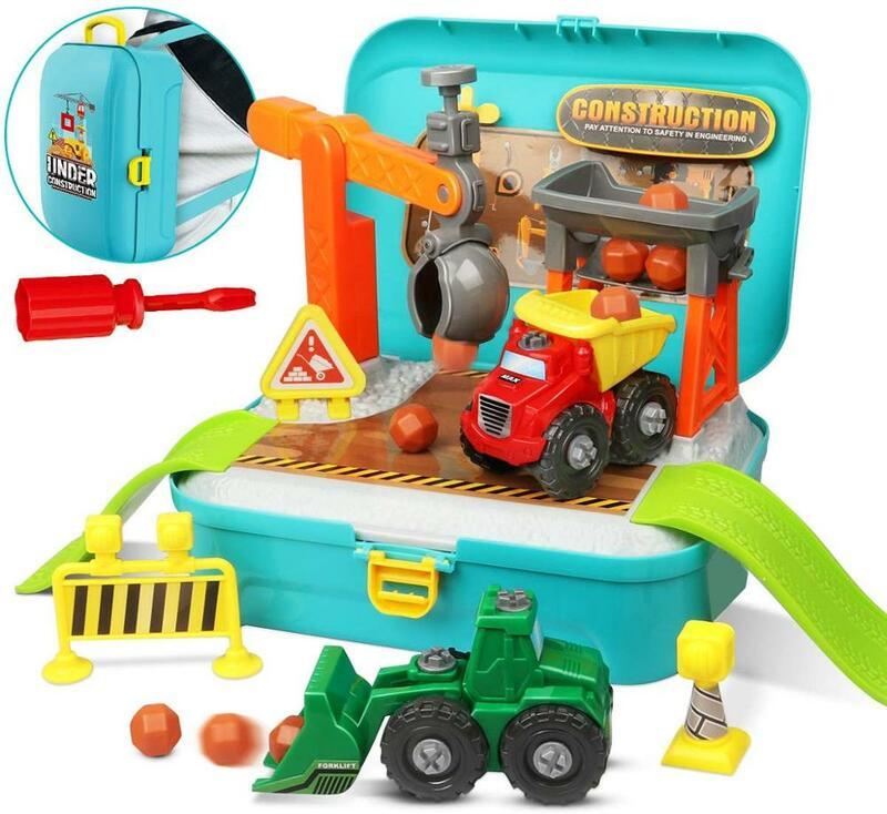 تأخذ بعيدا مجموعة شاحنات البناء ، 56 قطعة أدوات البناء مجموعة ألعاب التظاهر في حقيبة الظهر التعليمية المهارات الحركية الدقيقة