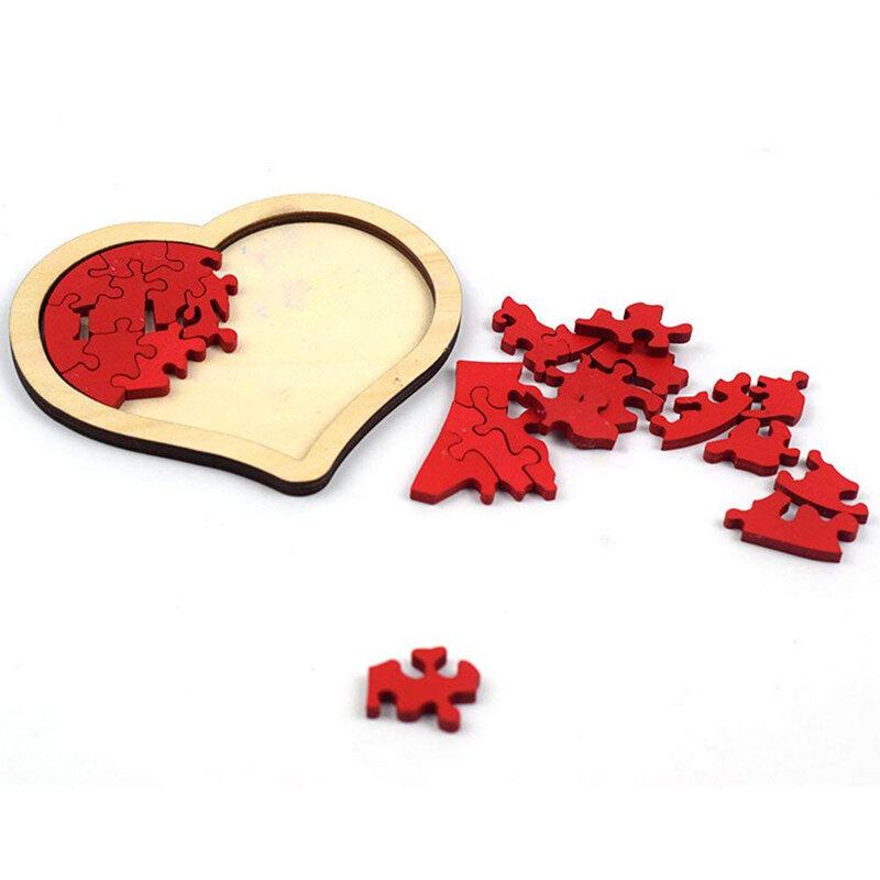 طفل بنين على شكل قلب خشبية لغز الحيوان التعليمية Developmental طفل طفل لعبة تدريب لعبة تعليمية هدية للطفل