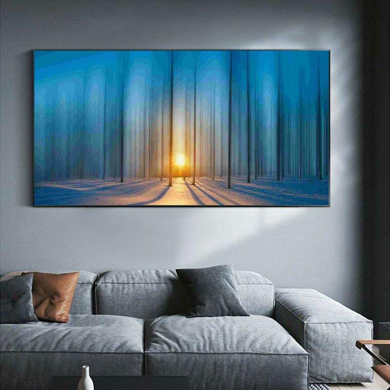 المشهد النفط الطلاء الطريق من الثلوج كثيفة الغابات الفن قماش اللوحة غرفة المعيشة الممر مكتب المنزل الديكور جدارية