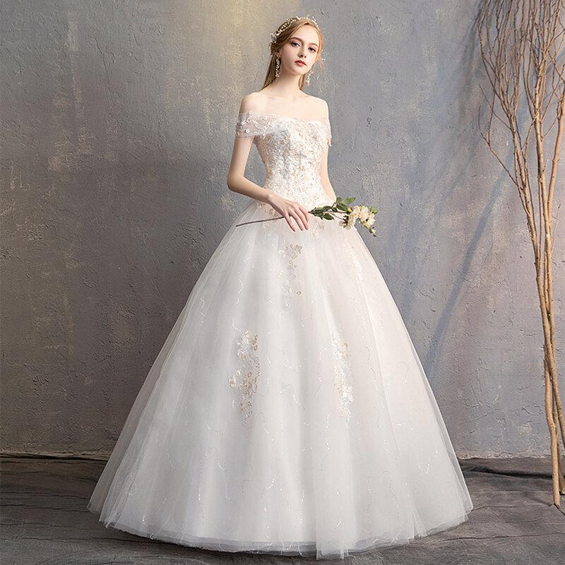 AnXin SH الأميرة الشمبانيا زهرة الأبيض الدانتيل فستان الزفاف خمر قارب الرقبة الخرز الكريستال الوهم العروس فستان الزفاف