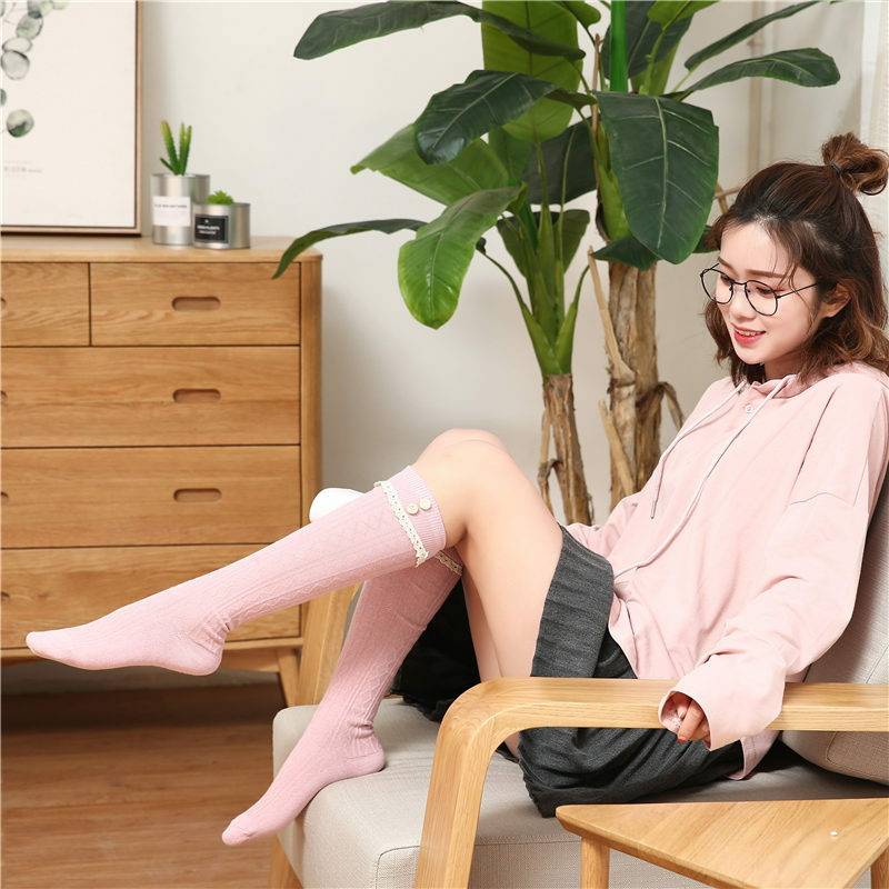 جوارب دافئة عالية الفخذين للنساء ، ملابس قطنية ، جودة عالية ، نمط الوسائط المتعددة ، مثير