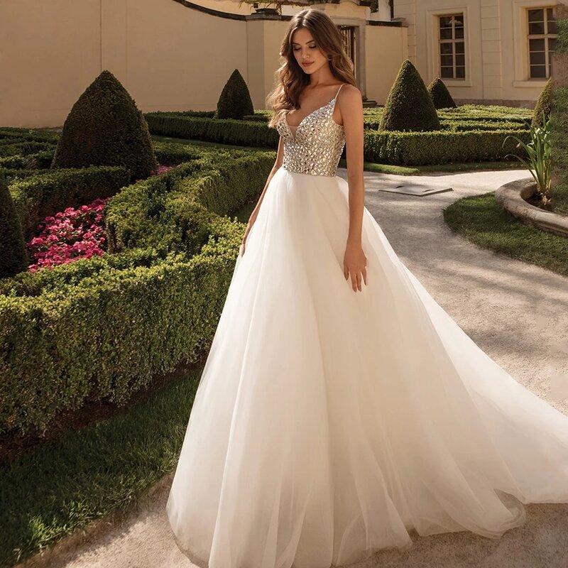 GY مثير تألق بلورات فستان الزفاف السباغيتي الأشرطة الخامس الرقبة الكرة ثوب الاجتياح قطار عارية الذراعين فساتين زفاف