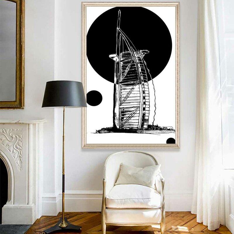 الشمال النفط اللوحة خط أبيض وأسود المعمارية الفن قماش اللوحة غرفة المعيشة الممر مكتب ديكور المنزل جدارية
