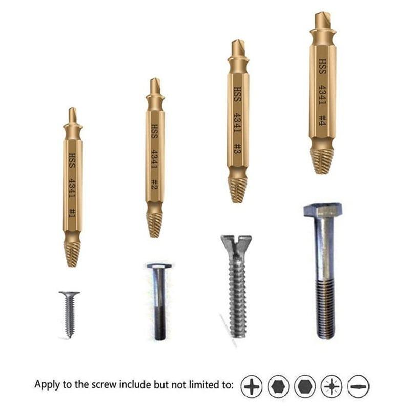 مثقاب الخشب أدوات التيتانيوم مطلي عالية السرعة الصلب HSS كسر مسمار لولبي الرأس النازع انزلاق الأسنان كسر أداة إزالة الصواميل 4 قطعة