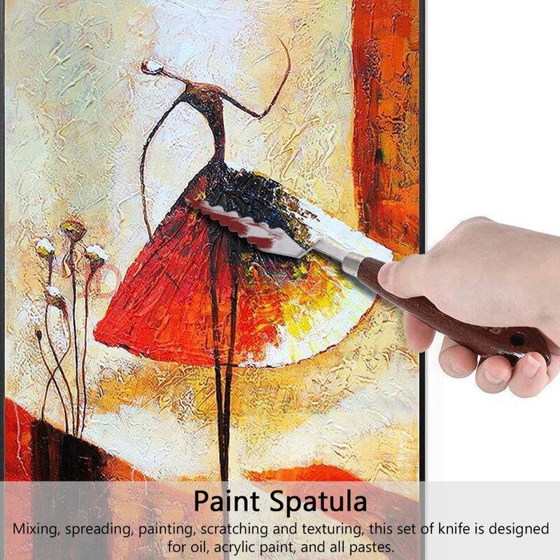 14 قطعة فن الطلاء النفط ملعقة الفولاذ المقاوم للصدأ أدوات خلط اللون للرسم