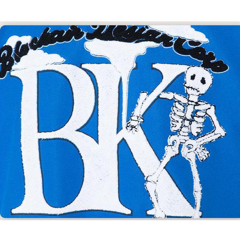 زوجين سترة معطف بولي Stitching خياطة التباين الهيكل العظمي يتدفقون شريط اسكواش جاكيتات للرجال ريترو محايد فضفاض زي بيسبول