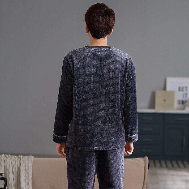 كبيرة الحجم L-3XL رجالي بيجامة بيجامة شتوية مجموعة سميكة الدافئة الفانيلا طويلة الأكمام ملابس النوم عادية
