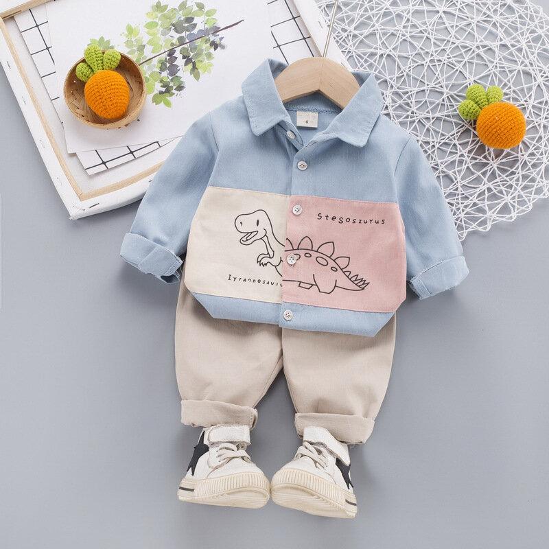 ملابس الأطفال الصبي قميص قسم رقيقة 2021 جديد الخريف بأكمام طويلة تنفس التلبيب قميص الأطفال ديناصور بنطلون علوي