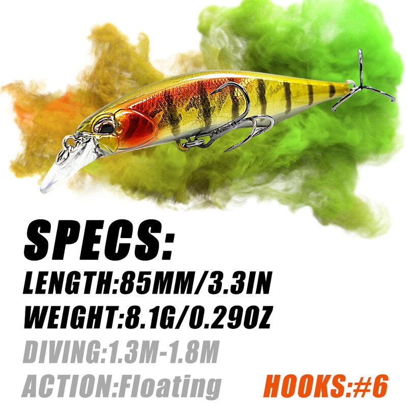 B & U 8.5 سنتيمتر 8 جرام الساخن نموذج الصيد السحر الطعم الثابت 8 اللون لاختيار البلمة جودة البلمة deepth0.8-1.5 متر Wobblers ل بايك باس إغراء